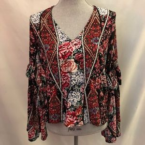 Anthropologie Jaase floral boho peasant top Sz L
